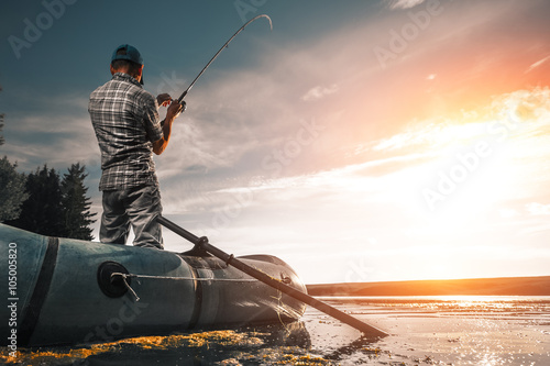 Printed kitchen splashbacks Fishing Mature man fishing on the lake