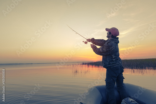 Printed kitchen splashbacks Fishing Man fishing on the lake