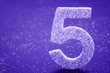 canvas print picture - Number five purple color over a purple background. Anniversary