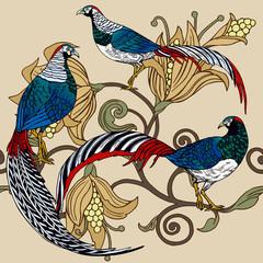 FototapetaVintage antique background, fashion seamless pattern with birds