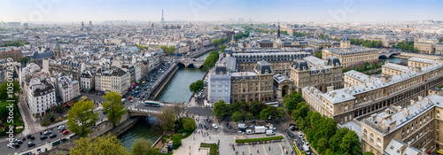 Stampa su Tela Panoramic view from Notre Dame Cathedral in Paris, France.