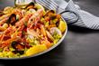 Paella Valencia with fresh langoustines