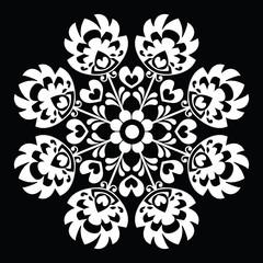 Panel Szklany Podświetlane Folklor Polish round white folk art pattern - Wzory Lowickie, Wycinanka