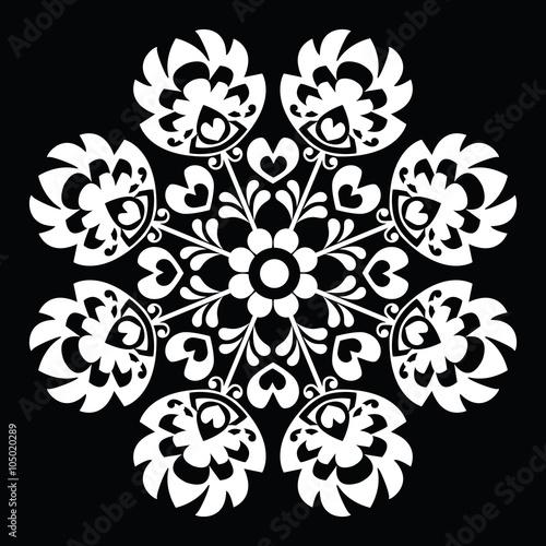 Polish round white folk art pattern - Wzory Lowickie, Wycinanka  - 105020289