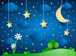 Surreal background with moon, clouds and flowers