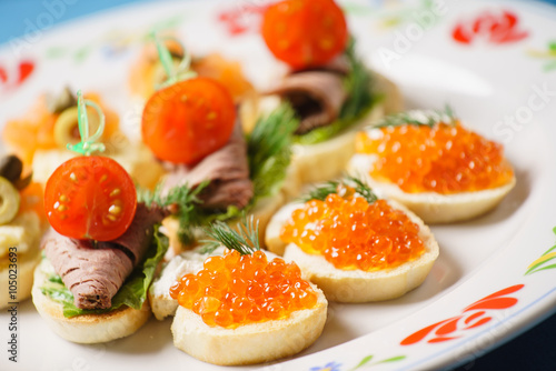 Door stickers Appetizer different canape
