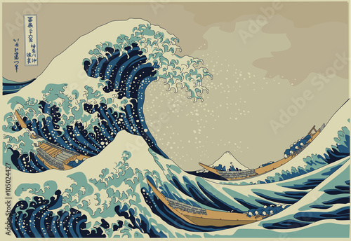 The big wave off Kanagawa - Hokusai Poster Mural XXL