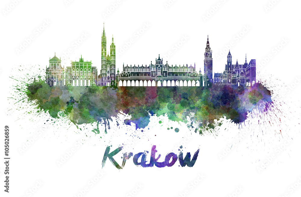 Fototapety, obrazy: Krakow skyline in watercolor