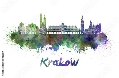Photo  Krakow skyline in watercolor