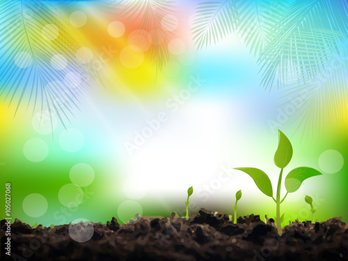 Fotobehang Planten Young sprout, spring, vector background.