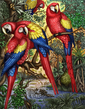 This Is A Original Digital Painting Of Scarlett Macaw Parrots.