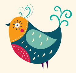 Obraz na Szkle Colorful illustration with a beautiful bird