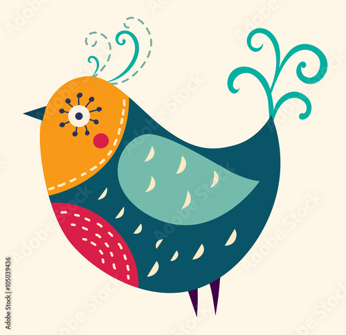 Colorful illustration with a beautiful bird - 105039436