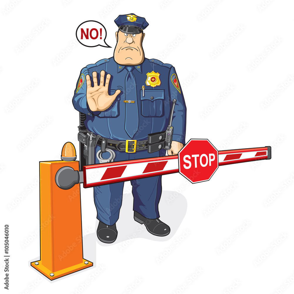 Stop sign policeman with. Photo art print barrier