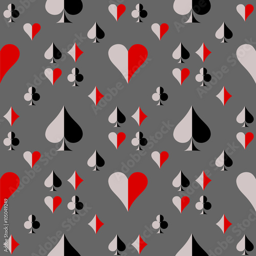 Seamless vector pattern with icons of playing cards плакат
