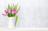Fototapeta Tulips - Fresh pink tulip flowers bouquet