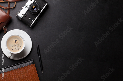 Poster Retro Office desk with camera, coffee and notepad