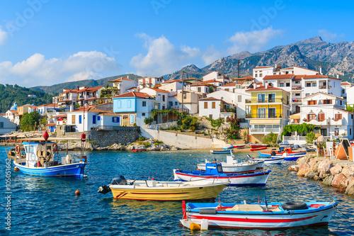 Fotobehang Liguria Colorful fishing boats in Kokkari port, Samos island, Greece