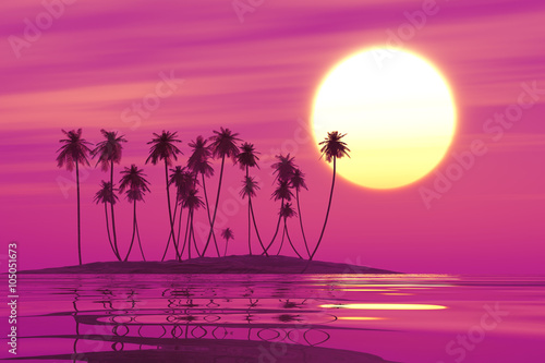 Aluminium Prints Pink tropical coconut island