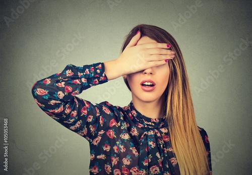 Fotografie, Obraz  Woman covering her eyes