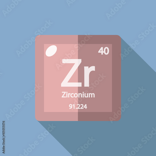Fotografia, Obraz  Chemical element Zirconium Flat