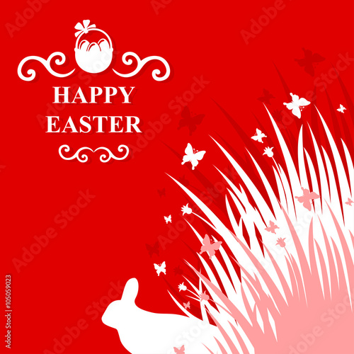 Fototapety, obrazy: Easter rabbit in grass card