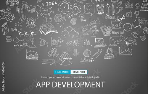 Fotografía  App Development Concept Background with Doodle design style