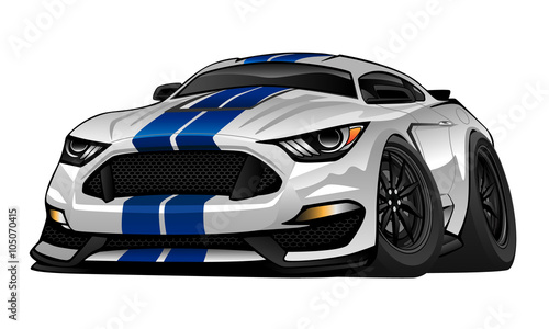 Staande foto Cartoon cars American Muscle Car cartoon vector illustration. White with blue racing stripes, aggressive stance, big tires and rims. Very sharp, clean lines, a crisp illustration.