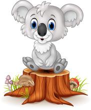 Cartoon Adorable Koala Sitting On Tree Stump