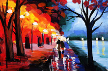 Oil Painting Road By Lake