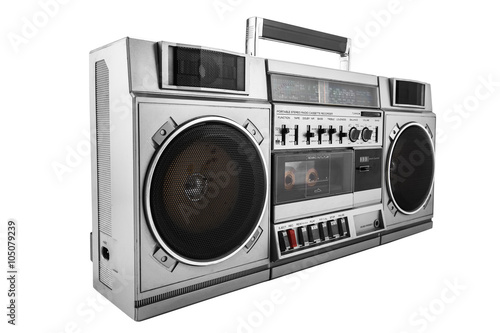 Fototapeta Retro ghetto blaster isolated on white with clipping path obraz