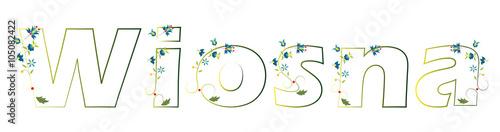 Napis - wiosna, styl kaszubski