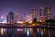 Lake view, city, urban at night.