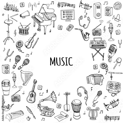 Hand drawn doodle Music set Vector illustration musical instrument