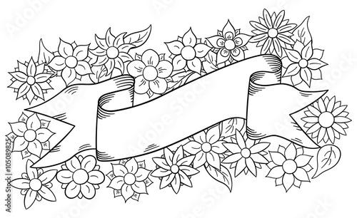 Banner Mit Blumen Hintergrund Zum Ausmalen Buy This Stock Vector
