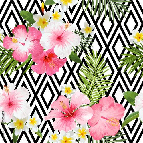 tropikalni-kwiaty-i-liscia-geometryczny-tlo-rocznika-bezszwowy-wzor