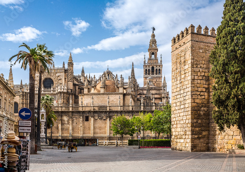 Foto op Canvas Monument Seville Cathedral. Spain. It is the largest Gothic cathedral and the third-largest church in the world.