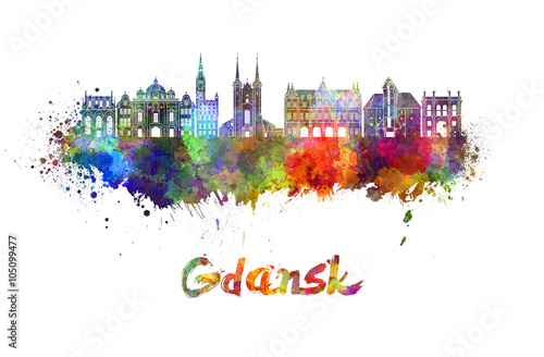 Obraz Gdansk skyline in watercolor - fototapety do salonu