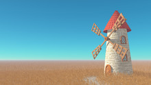 Rural Landscape. Wheat Field, Medieval Windmill With A Red Tile Roof, Clear Blue Sky. 3D Illustration.