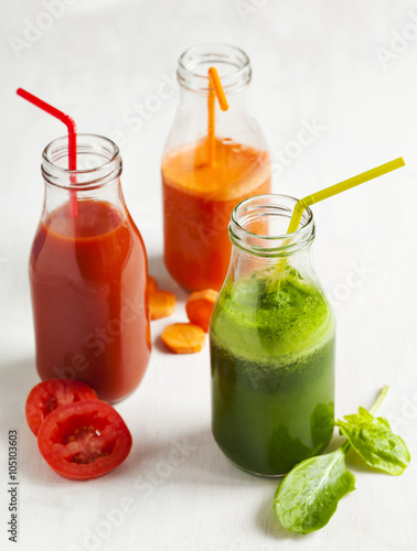 Recess Fitting Juice Fruits and vegetable juice in bottle.