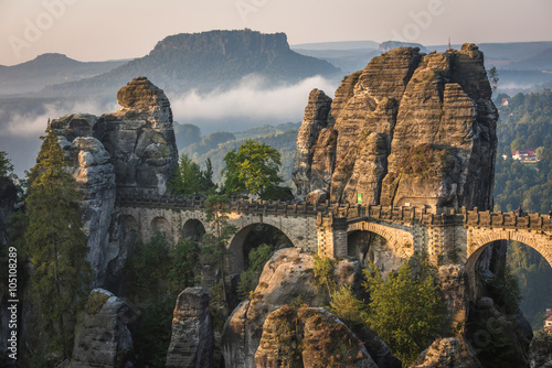 Wall Murals Bridge The Bastei bridge, Saxon Switzerland National Park, Germany