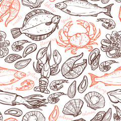 fototapeta wzór z owoców morza ręcznie rysowanych elementów