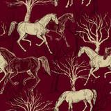 Rocznika piękny tło z koniami i drzewami - 105117254