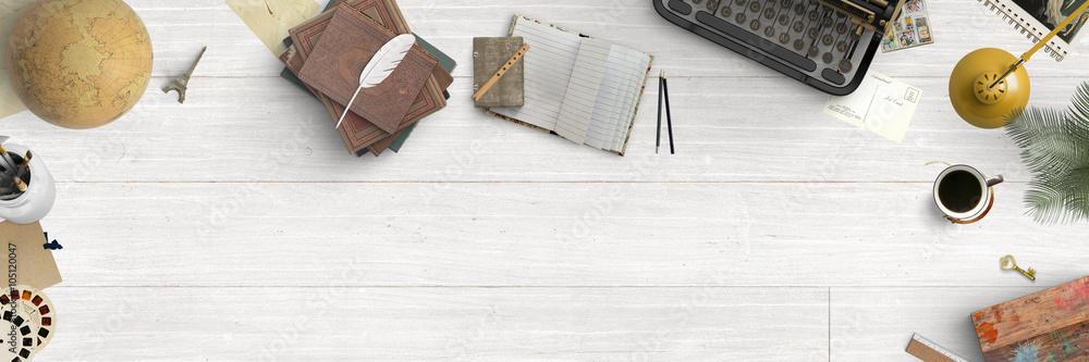 Fototapeta Vintage wood desk with creative retro items - top view - banner