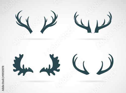 Fotografie, Obraz  Vector antler icon set on white background. Horn