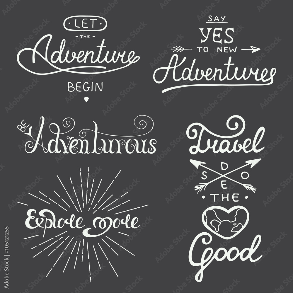 Fototapety, obrazy: Set of adventure and travel vector lettering for greeting cards