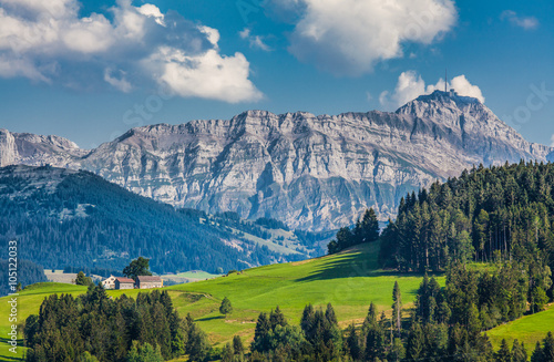 Idyllic landscape in the Alps, Appenzellerland, Switzerland