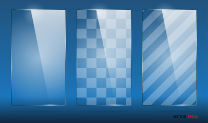 Set of empty rectangle glass frames.