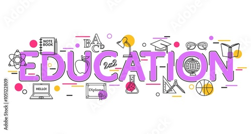 Education Concept With Vector Icons And Elements Education Banner For Website Header Advertising Booklet And Poster Education Background School Background Flat Style Thin Line Art Design Buy This Stock Vector And