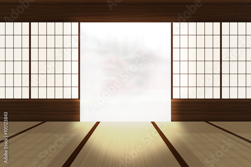 Foto op Plexiglas Bamboe Asian House Background